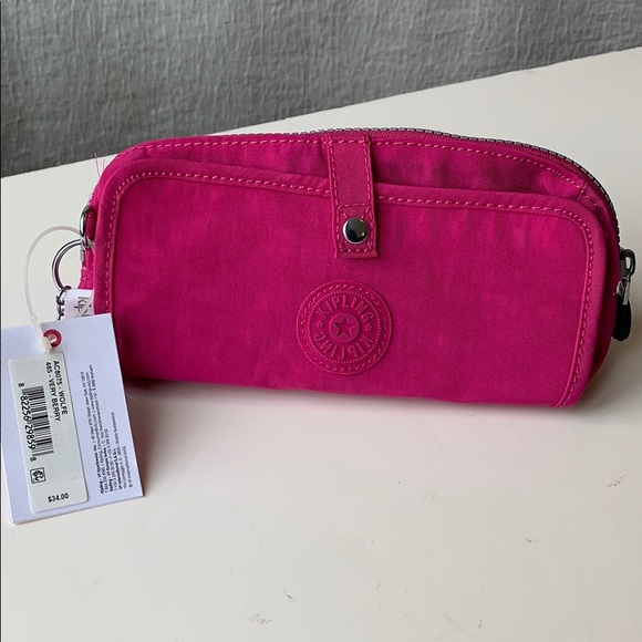 Kipling Wolfe pencil case pink